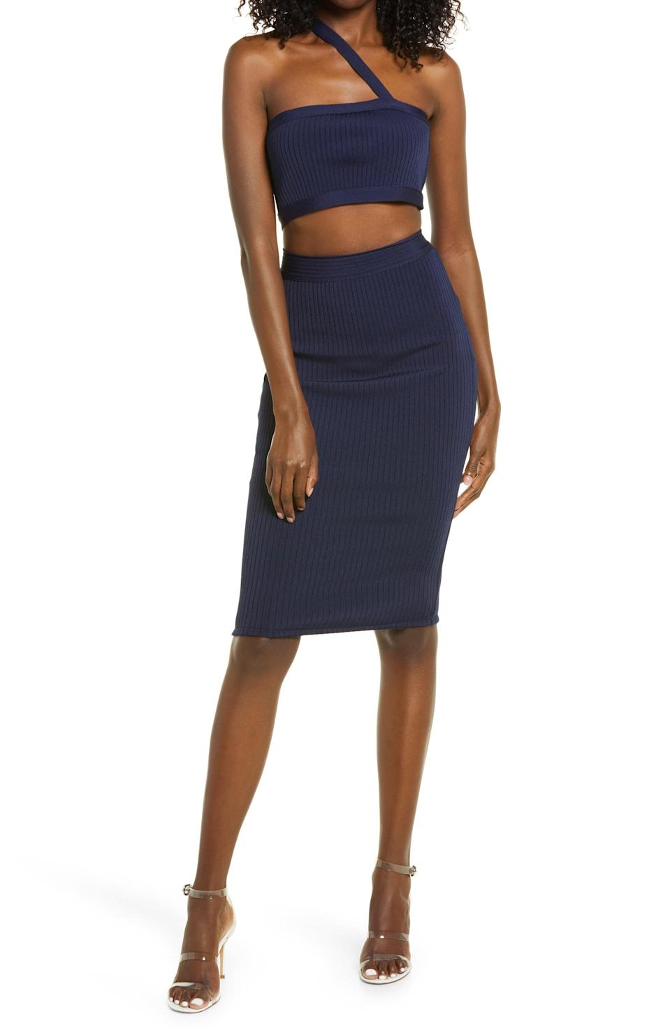 <p>The tight yet stretchy rib fabric and asymmetric crop top lend this <span>Lulus Dance Hall Two-Piece One-Shoulder Sweater Dress</span> ($78) a flattering look.</p>