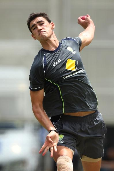 BRISBANE, AUSTRALIA - NOVEMBER 07:  Mitchell Starc bowls during an Australian nets session at The Gabba on November 7, 2012 in Brisbane, Australia.  (Photo by Chris Hyde/Getty Images)