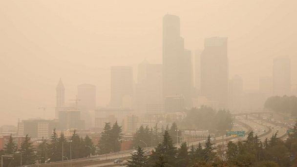 PHOTO: Smoke from wildfires covers the skyline of Seattle, Sept. 12, 2020. (Karen Ducey/Reuters)
