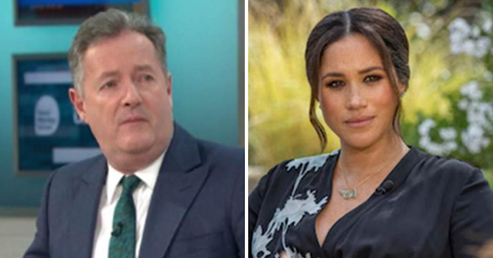 A side-by-side image of Piers Morgan and Meghan Markle. Photo: Good Morning Britain, CBS.