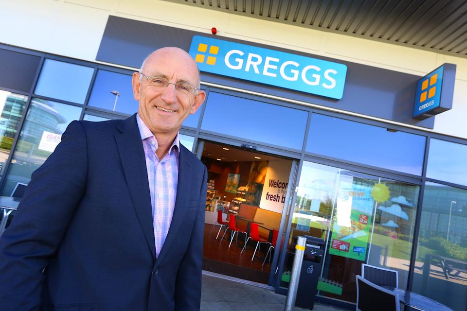 Undated handout photo issued by Greggs of their chief executive Roger Whiteside, as falafel and hummus helped power sales at the bakert chain in the first half of the year, with the sausage roll-maker reaping the rewards of a wider range of healthy eating options.