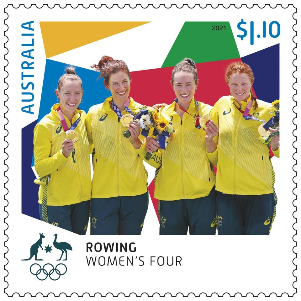 Women's Four rowing team holding gold medals. Source: Australia Post