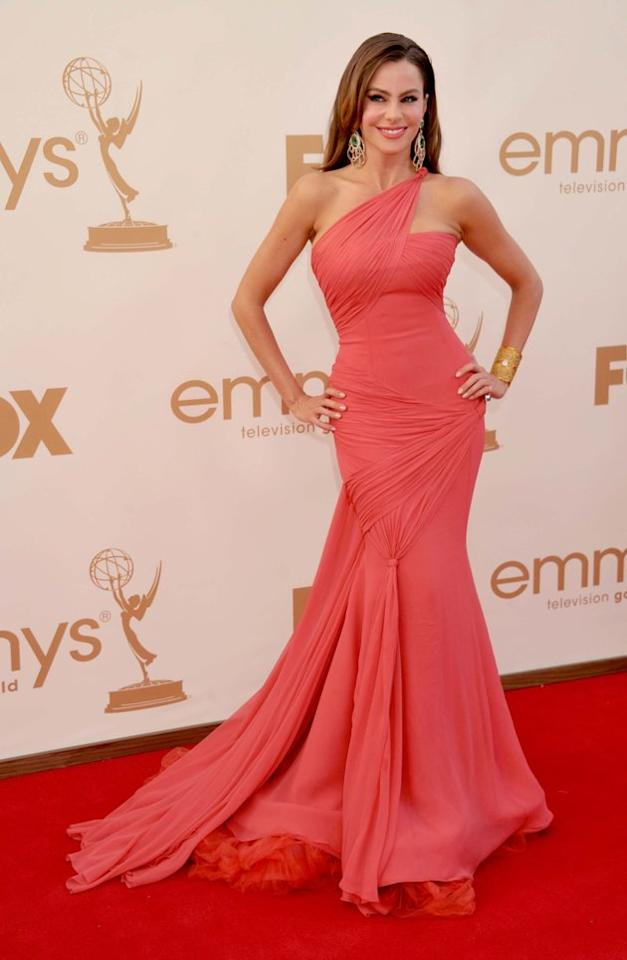 "BEST: ""Modern Family"" star Sofia Vergara's Vera Wang dress hugs her curves in all the right places at the 2011 Emmy Awards. (Photo by Gregg DeGuire/FilmMagic)"