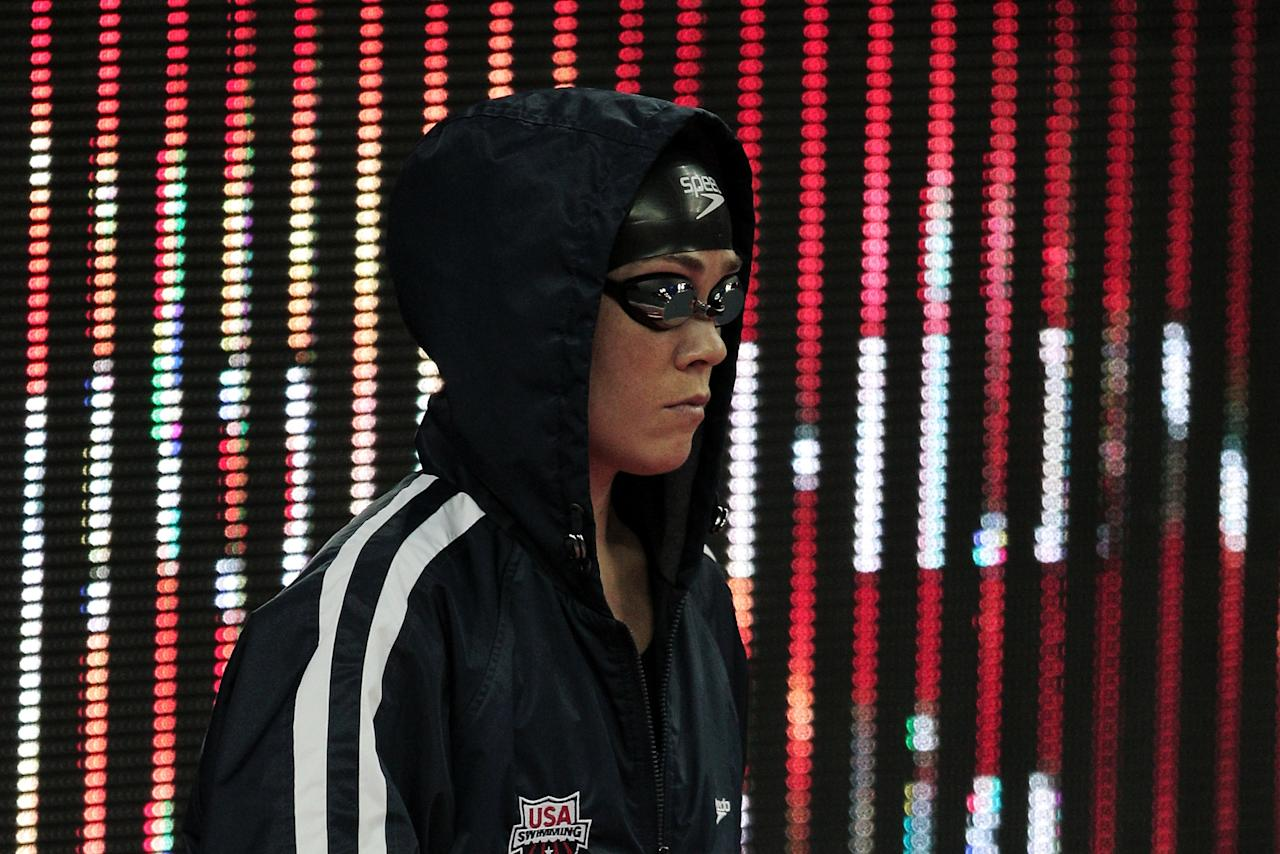 SHANGHAI, CHINA - JULY 26:  Natalie Coughlin of the United States walks out before the Women's 100m Backstroke Final during Day Eleven of the 14th FINA World Championships at the Oriental Sports Center on July 26, 2011 in Shanghai, China.  (Photo by Adam Pretty/Getty Images)