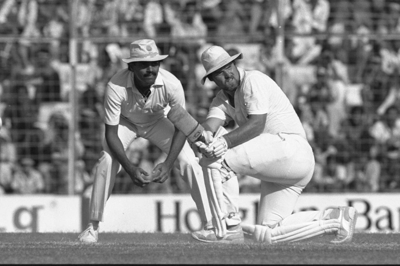 Nov 1984:  Mike Gatting of England, batting, during his century against India at Bombay in India. Mandatory Credit: Adrian Murrell/Allsport