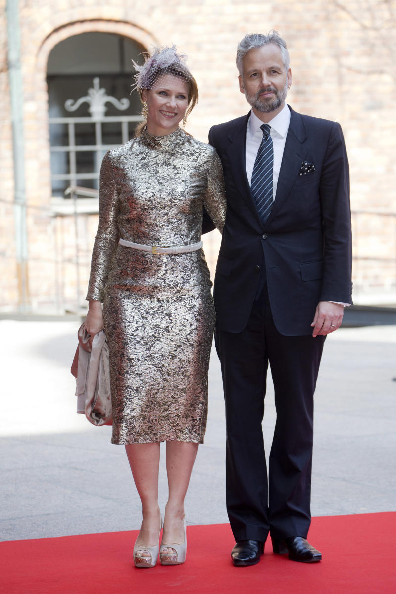 A photo of Princess Martha Louise of Norway and her then-husband Ari Behn at a Lunch at City Hall Stockholm for King Carl Gustaf of Sweden's 70th Birthday, on April 30, 2016, in Stockholm, Sweden.