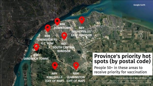 These are the seven postal code regions identified in Windsor-Essex that will be prioritized for the vaccine.