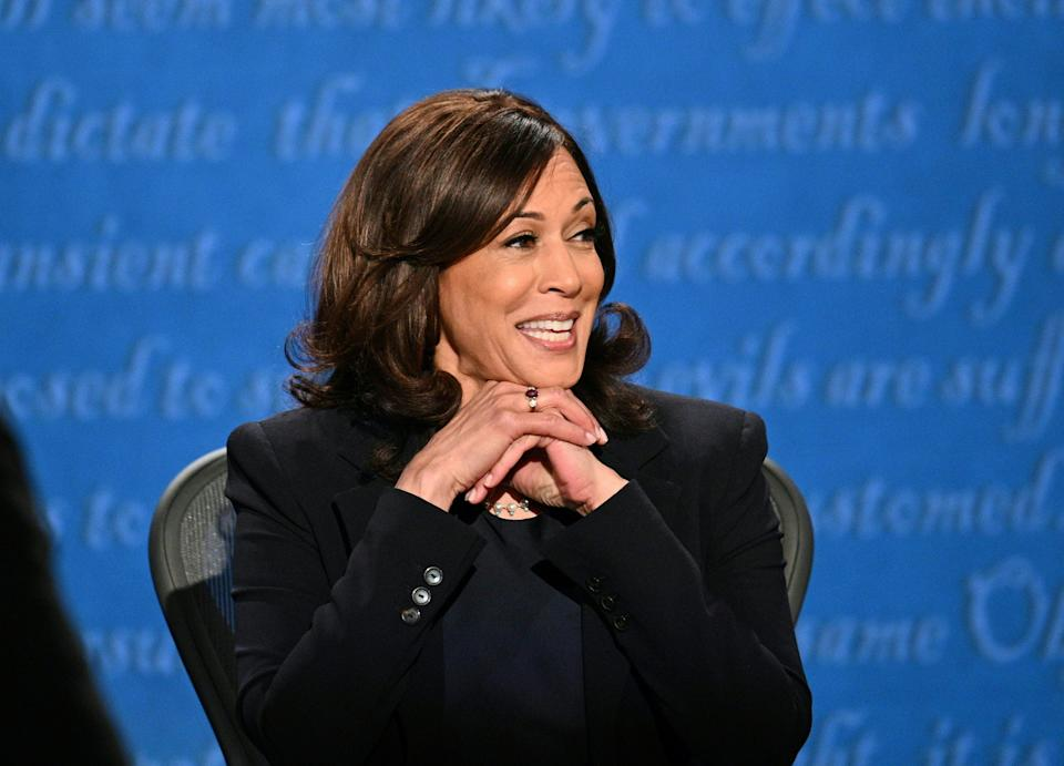 Sen. Kamala Harris (Calif.), the Democratic vice presidential nominee, debated Vice President Mike Pence at the University of Utah on Wednesday night. Throughout the debate, Pence talked for longer than his allotted time and talked over Harris.  (Photo: Photo by ROBYN BECK/AFP via Getty Images)