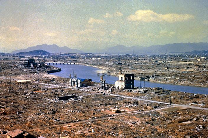 The devastated city of Hiroshima after the atomic bomb blast