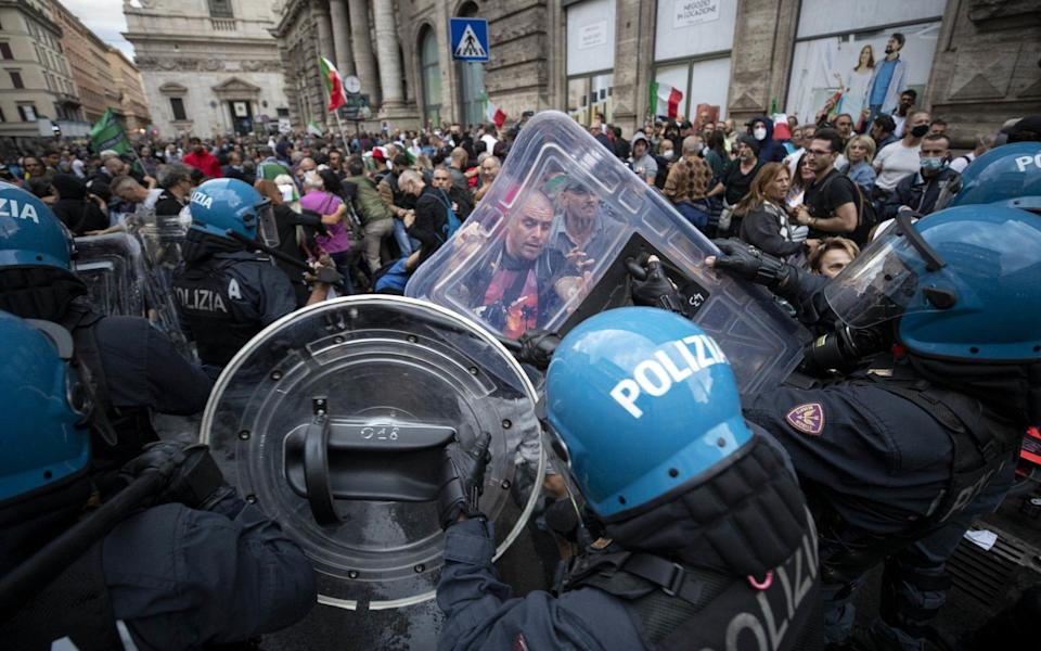 Protests against Italy's green pass, proving vaccination against Covid-19, turned violent last weekend - EPA-EFE/Shutterstock