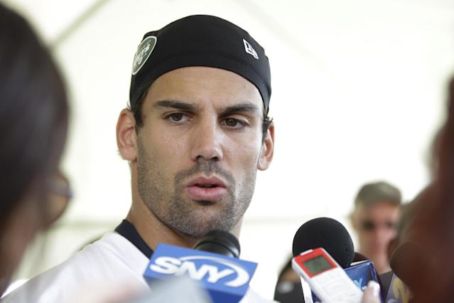New York Jets' Eric Decker responds to questions during a news conference during NFL football training camp Thursday, July 24, 2014, in Cortland, N.Y. (AP Photo)