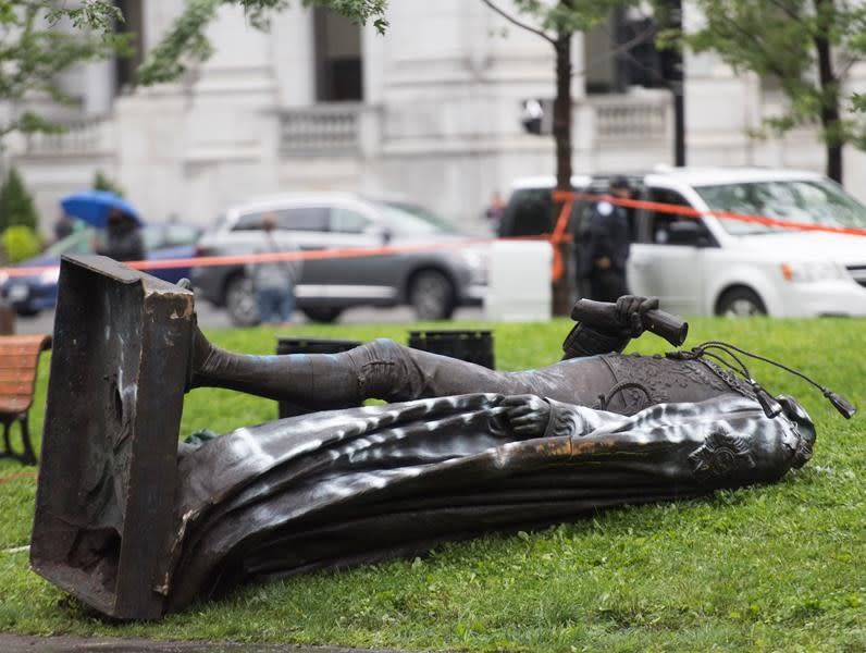 Trudeau calls out vandals who toppled Montreal's Macdonald statue