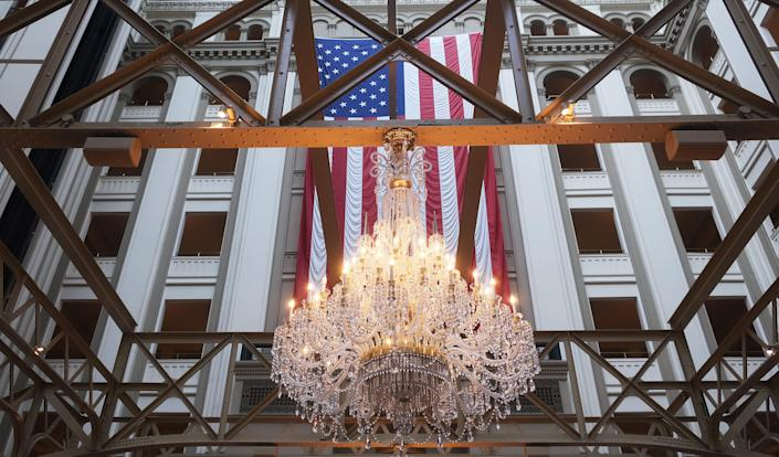 The American flag hangs in the Trump International Hotel on Feb. 3. (Mario Tama/Getty Images)