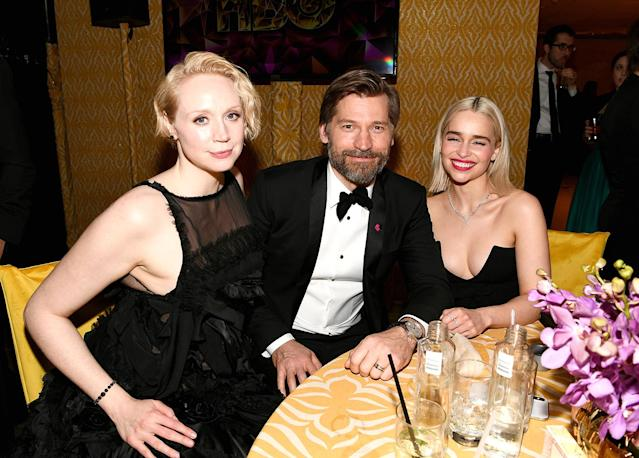 <p>The <em>Game of Thrones</em> table! Gwendoline Christie, Nikolaj Coster-Waldau, and Emilia Clarke hung tight at the HBO party at Circa 55 restaurant. (Photo: Emma McIntyre/Getty Images) </p>