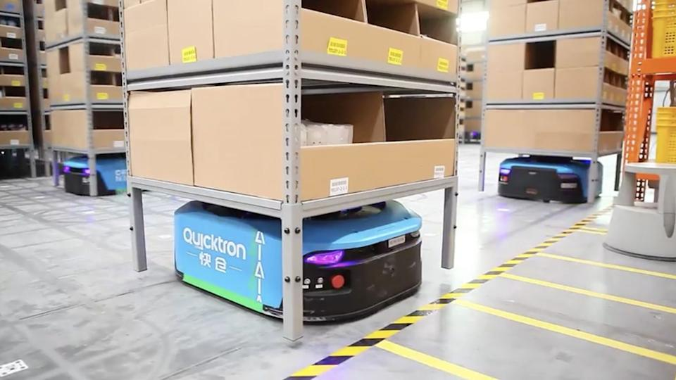 Delivery warehouse in China is operated by robots Alibaba Quicktron