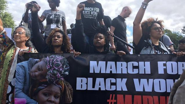 Black activist groups marched on the National Mall and Justice Department in Washington, D.C. on Saturday to raise awareness about the injustices black women face.