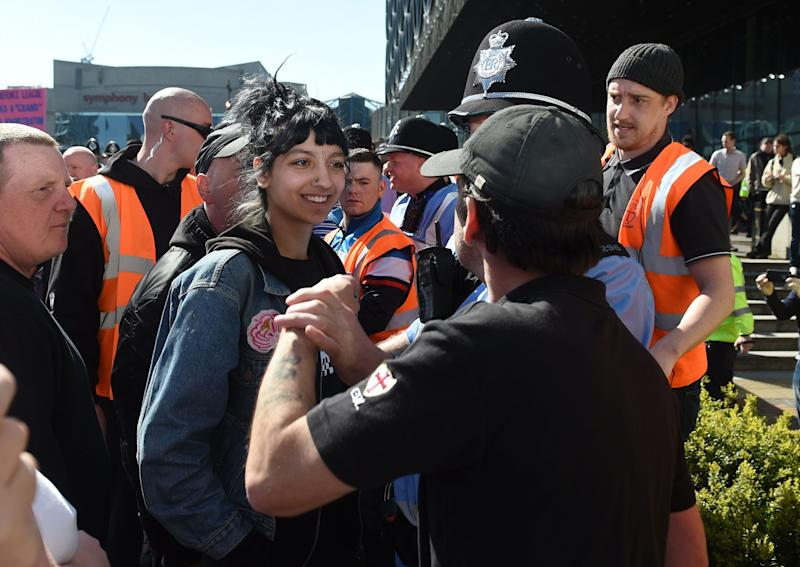 <strong>Saffiyah, then 18, confronting the EDL in Birmingham</strong> (Photo: PA Archive/PA Images)