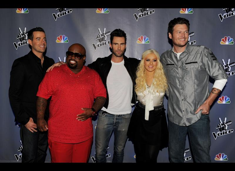 Host Carson Daly, singers Cee Lo Green, Adam Levine, Christina Aguilera and Blake Shelton arrive at a press junket for NBC's 'The Voice' at Sony Studios on October 28, 2011 in Culver City, California. (Getty)