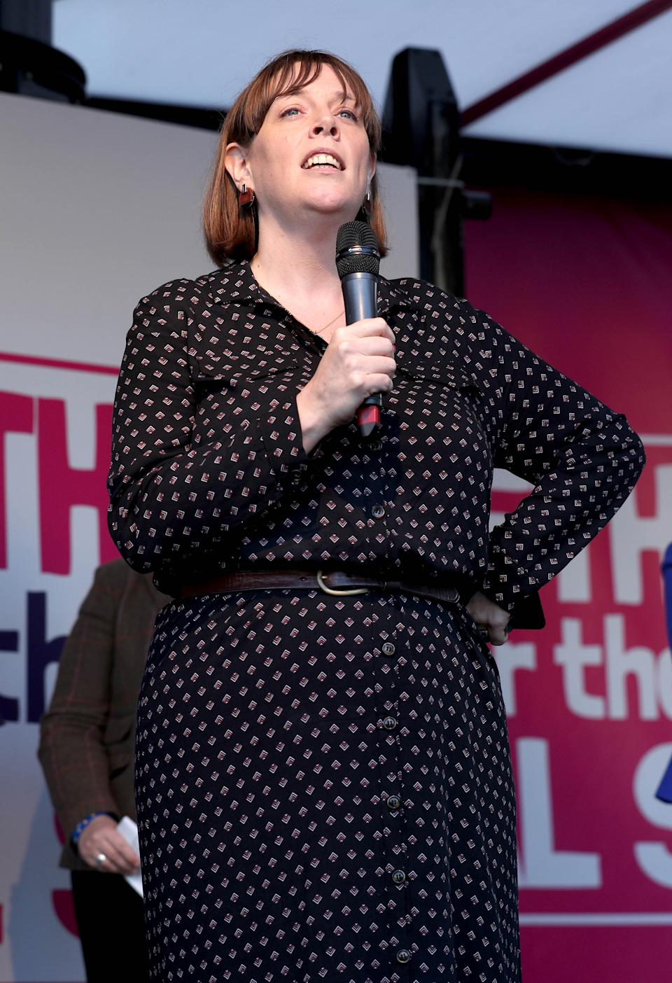 Labour MP Jess Phillips on stage during an anti-Brexit rally in Parliament Square in London, after it was announced that the Letwin amendment, which seeks to avoid a no-deal Brexit on October 31, was accepted, following Prime Minister Boris Johnson's statement in the House of Commons, on his new Brexit deal.