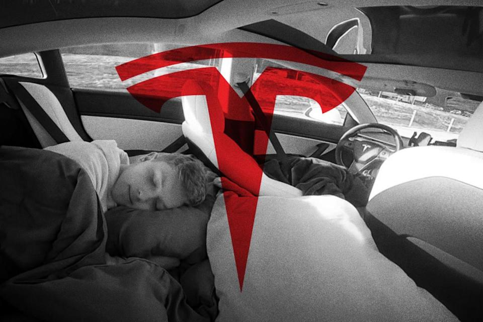 A TikTok and YouTube creator sleeps in the back of a Tesla vehicle while it's driving on Autopilot