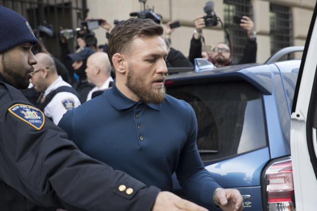 Conor McGregor is facing multiple charges of assault and has a court date set for June 14. (AP Photo/Mary Altaffer)