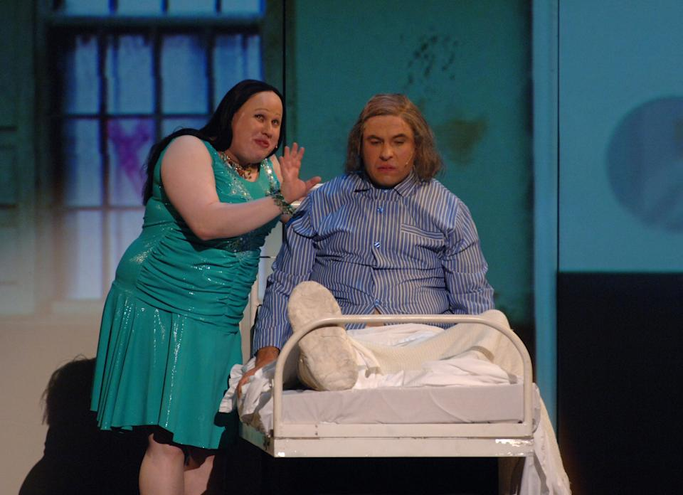David Walliams (right) and Matt Lucas in a special Comic Relief performance of the Little Britain stage show at the Hammersmith Apollo in west London.   (Photo by Ian West - PA Images/PA Images via Getty Images)
