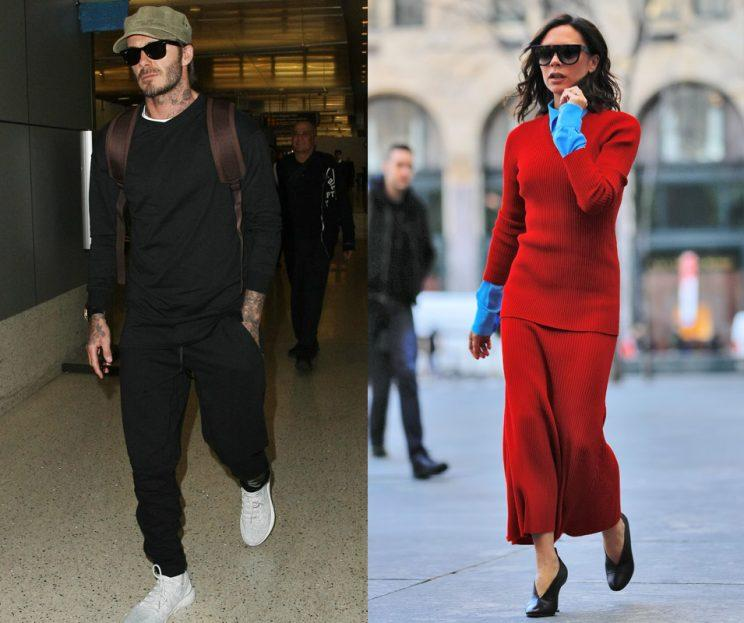 David Beckham was spotted in London while his wife, Victoria, stepped out in NYC. (Photos: Splash News)