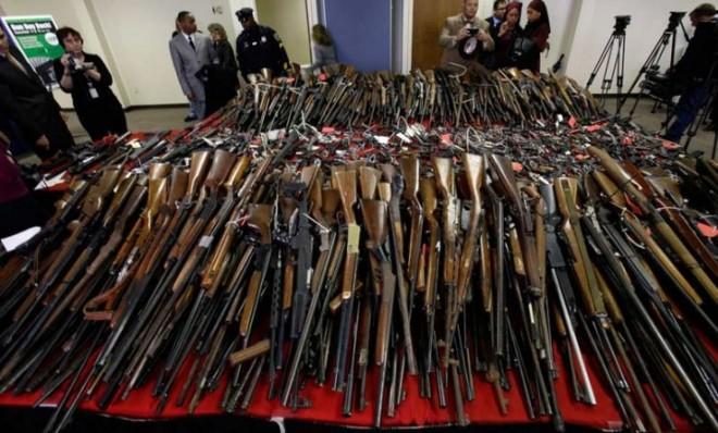 Guns are displayed in Camden, N.J., on Dec. 18, after state officials initiated a gun buyback event, which brought in more than 1,100 weapons.