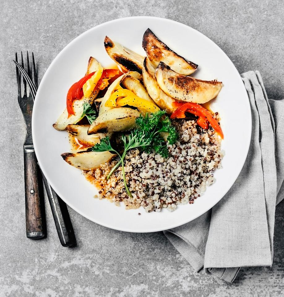"""<p>Carbohydrates are also an important energy source to help <a href=""""https://www.popsugar.com/fitness/Why-Carbs-Important-Building-Muscle-45710121"""" class=""""ga-track"""" data-ga-category=""""Related"""" data-ga-label=""""https://www.popsugar.com/fitness/Why-Carbs-Important-Building-Muscle-45710121"""" data-ga-action=""""In-Line Links"""">fuel strength training sessions</a>. """"Adults who are strength training at least twice a week should be getting <a href=""""https://www.popsugar.com/fitness/photo-gallery/46217468/image/46221023/How-Many-Carbs-Should-I-Eat-Lose-Fat-Build-Muscle"""" class=""""ga-track"""" data-ga-category=""""Related"""" data-ga-label=""""https://www.popsugar.com/fitness/How-Many-Carbs-Should-I-Eat-Build-Muscle-Lose-Fat-46217468#photo-46221023"""" data-ga-action=""""In-Line Links"""">at least half their daily calories</a> from quality carbohydrate sources,"""" Jessica said. If you're working out more often, go for <a href=""""https://www.popsugar.com/fitness/Carb-Protein-Fat-Ratio-Weight-Loss-Muscle-Gain-45261193"""" class=""""ga-track"""" data-ga-category=""""Related"""" data-ga-label=""""https://www.popsugar.com/fitness/Carb-Protein-Fat-Ratio-Weight-Loss-Muscle-Gain-45261193"""" data-ga-action=""""In-Line Links"""">55 percent of your daily calories</a> per day. Good sources include whole grains, legumes, whole-grain breads and cereals, dairy products, and fruits and vegetables.</p>"""