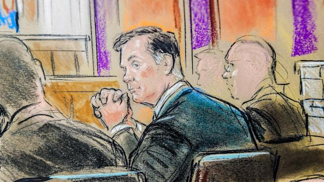 <p>Former Trump campaign manager Paul Manafort is shown in a court room sketch, as he sits in federal court on the opening day of his trial on bank and tax fraud charges stemming from Special Counsel Robert Mueller's investigation into Russian meddling in the 2016 presidential election, in Alexandria, Va., July 31, 2018. (Photo: Bill Hennessy/Reuters) </p>