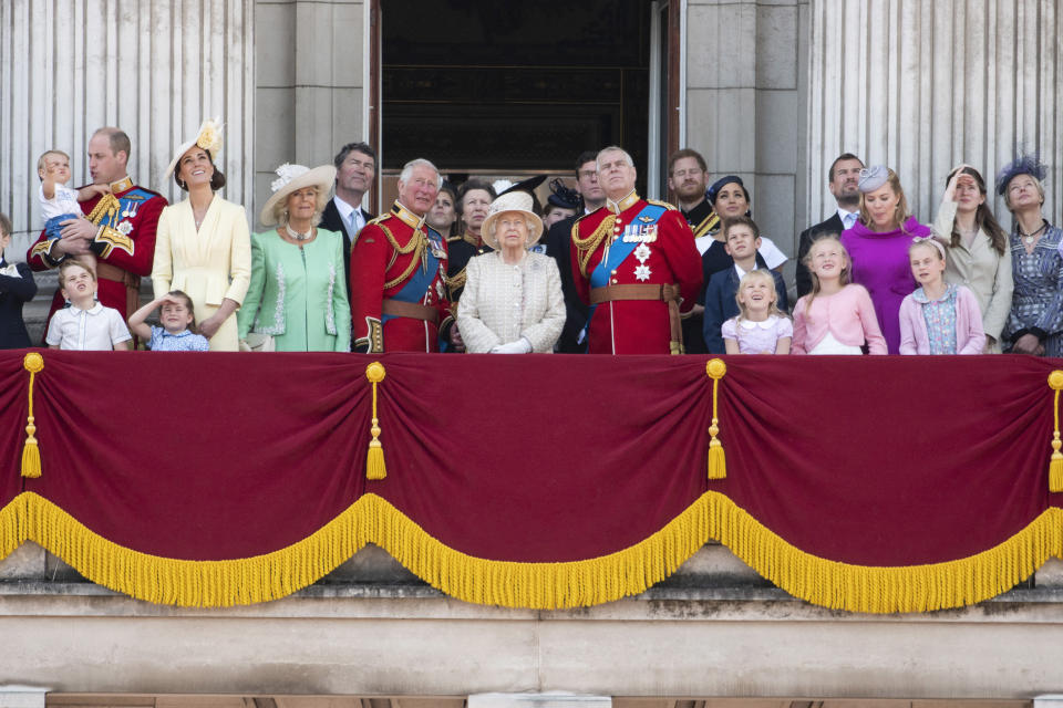 LONDON, June 8, 2019 -- Britain's Queen Elizabeth II C and her family members are seen on the balcony of Buckingham Palace during the Trooping the Colour ceremony to mark her 93rd birthday in London, Britain, on June 8, 2019. Queen Elizabeth celebrated her official 93rd birthday in London Saturday, with a family gathering on the balcony at Buckingham Palace. (Xinhua/Ray Tang) (Xinhua/Ray Tang via Getty Images)