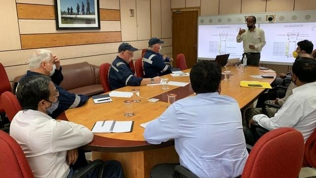Senior Oil India technocrats brief the experts from M/s Alert Disaster Control about the progress in the well control operation on 8 June 2020 before leaving for the blowout site at Baghjan. Image courtesy @OilIndiaLimited