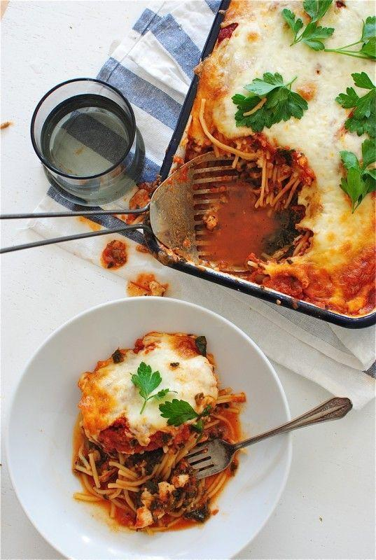"""<p>Need a no frills dinner? This is your guy. It's dried spaghetti + sauce + cheese + chicken dumped into a pan and bake to perfection. </p><p><a href=""""http://bevcooks.com/2014/10/one-pan-chicken-spaghetti-bake/"""" rel=""""nofollow noopener"""" target=""""_blank"""" data-ylk=""""slk:Get the recipe from Bev Cooks »"""" class=""""link rapid-noclick-resp""""><em>Get the recipe from Bev Cooks »</em></a></p>"""