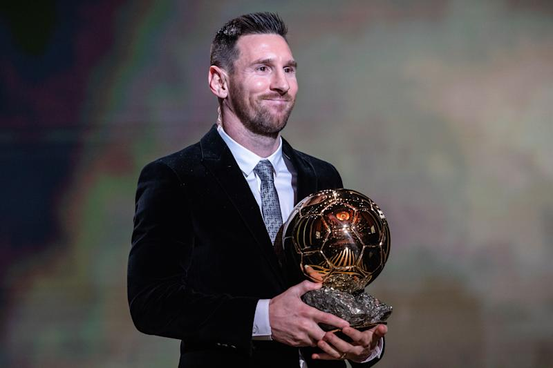 PARIS, Dec. 3, 2019 -- Barcelona's Argentinian forward Lionel Messi poses with the trophy during the Ballon d'Or 2019 awards ceremony at the Theatre du Chatelet in Paris, France, Dec. 2, 2019. (Photo by Aurelien Morissard/Xinhua via Getty) (Xinhua/ via Getty Images)