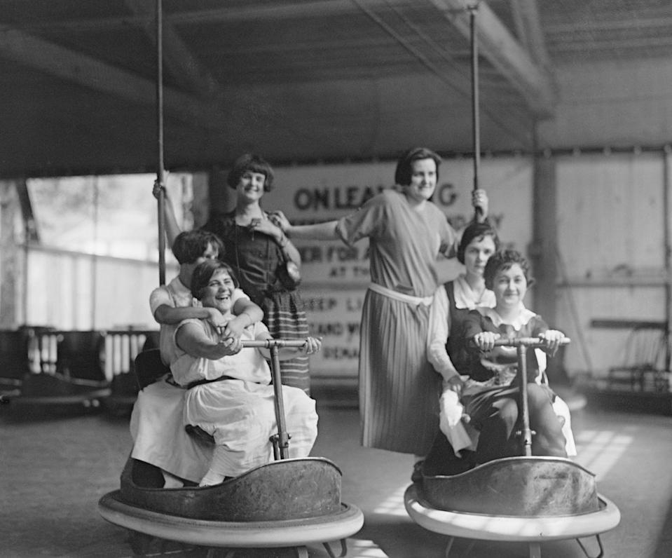 """<p>Bumper cars are an amusement-park staple, but take a look at how far they've come. These bumper cars at <a href=""""https://glenechopark.org/"""" rel=""""nofollow noopener"""" target=""""_blank"""" data-ylk=""""slk:Glen Echo Park"""" class=""""link rapid-noclick-resp"""">Glen Echo Park</a> look un-padded, un-protected, and very, very full. Makes you feel like today's dodgems are a little too cushy (although they probably go much faster). </p>"""