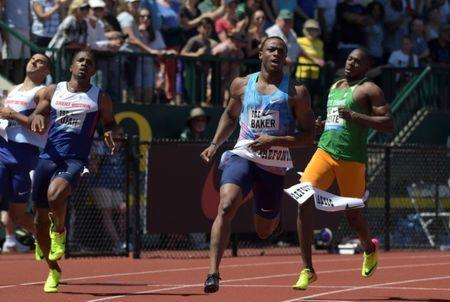 Ronnie Baker wins the 100m in a wind-aided 9.86 during the 43rd Prefontaine Classic at Hayward Field in Eugene, Oregon, U.S., May 27, 2017. Mandatory Credit: Kirby Lee-USA TODAY Sports