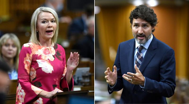 Deputy Conservative Leader Candice Bergen and Prime Minister Justin Trudeau are shown in a composite image of photos from The Canadian Press, taken on Sept. 29, 2020. (Photo: CP)