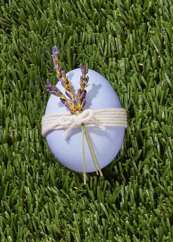 "<p>Just looking at this egg gives us a peaceful feeling! To make it, dye an egg purple, then wrap it several times with white string and thread dried lavender sprigs through string.</p><p><a class=""link rapid-noclick-resp"" href=""https://www.amazon.com/Macramé-Natural-Knitting-Christmas-Wrapping/dp/B07PXDQ47J?tag=syn-yahoo-20&ascsubtag=%5Bartid%7C10050.g.1282%5Bsrc%7Cyahoo-us"" rel=""nofollow noopener"" target=""_blank"" data-ylk=""slk:SHOP BAKER'S TWINE"">SHOP BAKER'S TWINE</a></p>"