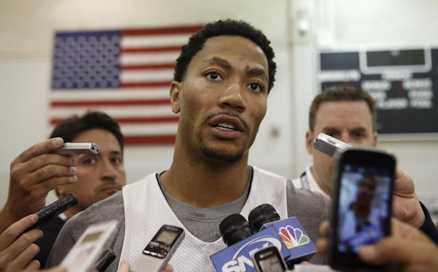 USA Basketball guard Derrick Rose of the Chicago Bulls speaks to the press after a team practice at the Brooklyn Nets training facility in East Rutherford, N.J., Tuesday, Aug. 19, 2014. Team USA faces the Dominican Republic at Madison Square Garden Wednesday night in advance of the FIBA World Cup Basketball tournament Aug. 30 through Sept. 14 in Spain. (AP Photo/Kathy Willens)