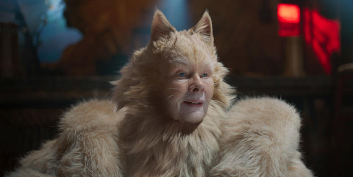 """This image released by Universal Pictures shows Judi Dench as Old Deuteronomy in a scene from """"Cats."""" (Universal Pictures via AP)"""