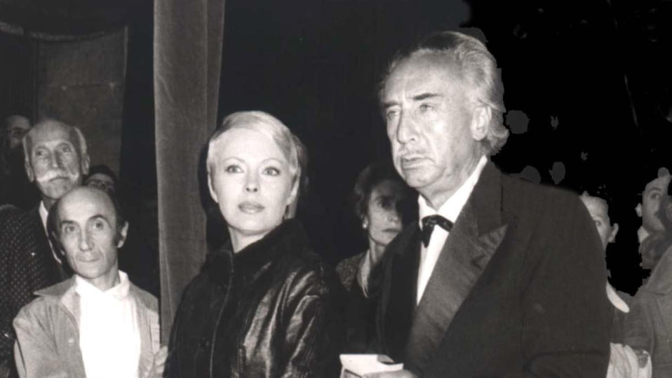 Jean Seberg and Romain Gary attend party hosted by fashion designer Valentino in 1978. (Photo by Bertrand Rindoff Petroff/Getty Images)