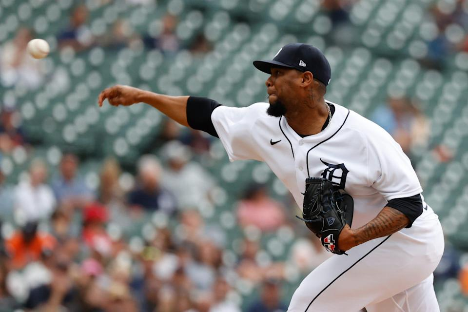 Detroit Tigers relief pitcher Jose Cisnero (67) pitches in the eighth inning against the St. Louis Cardinals at Comerica Park, June 23, 2021.