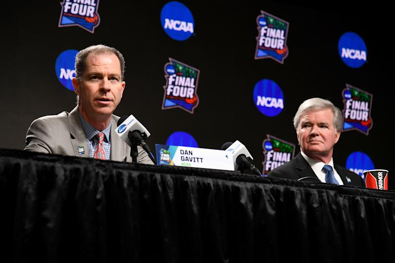 NCAA senior vice president of basketball Dan Gavitt (left) ultimately made the decision not to release an NCAA tournament bracket. (Photo by Brett Wilhelm/NCAA Photos via Getty Images )