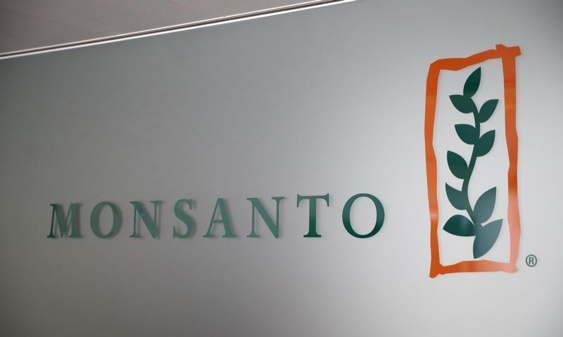A Monsanto logo is pictured in the company headquarters in Morges