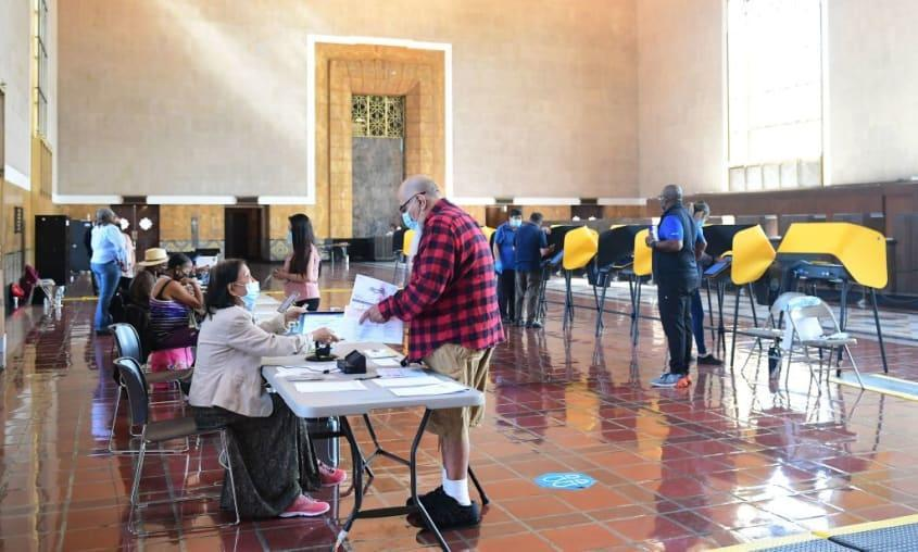 People vote in Union Station in downtown Los Angeles.