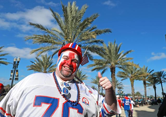 <p>A Buffalo Bills fan is seen outside the stadium before the start of the AFC Wild Card playoff game against the Jacksonville Jaguars at EverBank Field on January 7, 2018 in Jacksonville, Florida. (Photo by Scott Halleran/Getty Images) </p>