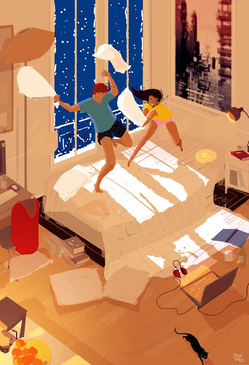 The majority of the illustrations are based on real-life experiences or dramatizations of them.  (Pascal Campion Art)