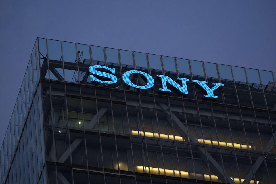 The logo of Japans Sony is displayed on the wall of the companys headquarters building in Tokyo on December 10, 2020, after it announced it had agreed to buy US anime streaming giant Crunchyroll from AT&T for 1.17 billion USD. (Photo by Kazuhiro NOGI / AFP) (Photo by KAZUHIRO NOGI/AFP via Getty Images)