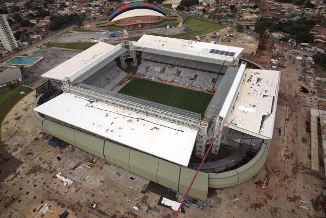 An aerial view of the construction of the Arena Pantanal soccer stadium, which will host several matches of the 2014 World Cup, in Cuiaba, February 10, 2014. Picture taken February 10, 2014. REUTERS/Stringer (BRAZIL - Tags: SPORT SOCCER WORLD CUP)