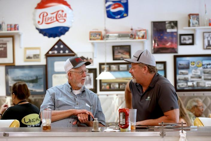 Ted Crumby, left, and Dennis Hillard, met for lunch at Linda's Soda Bar and Grill last spring